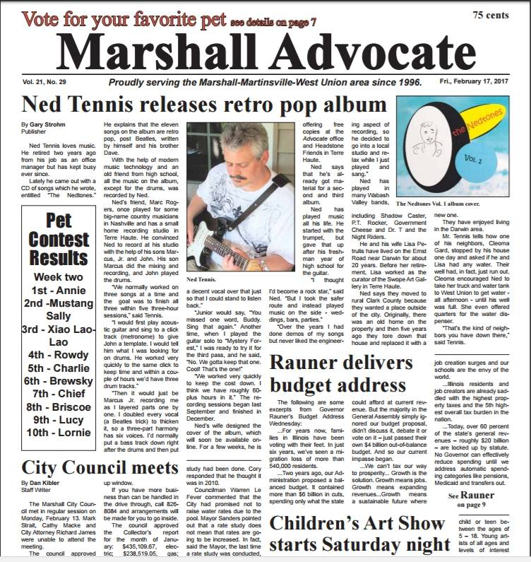 nedtones new release int he local Marshall Illinois newspaper the Advocate