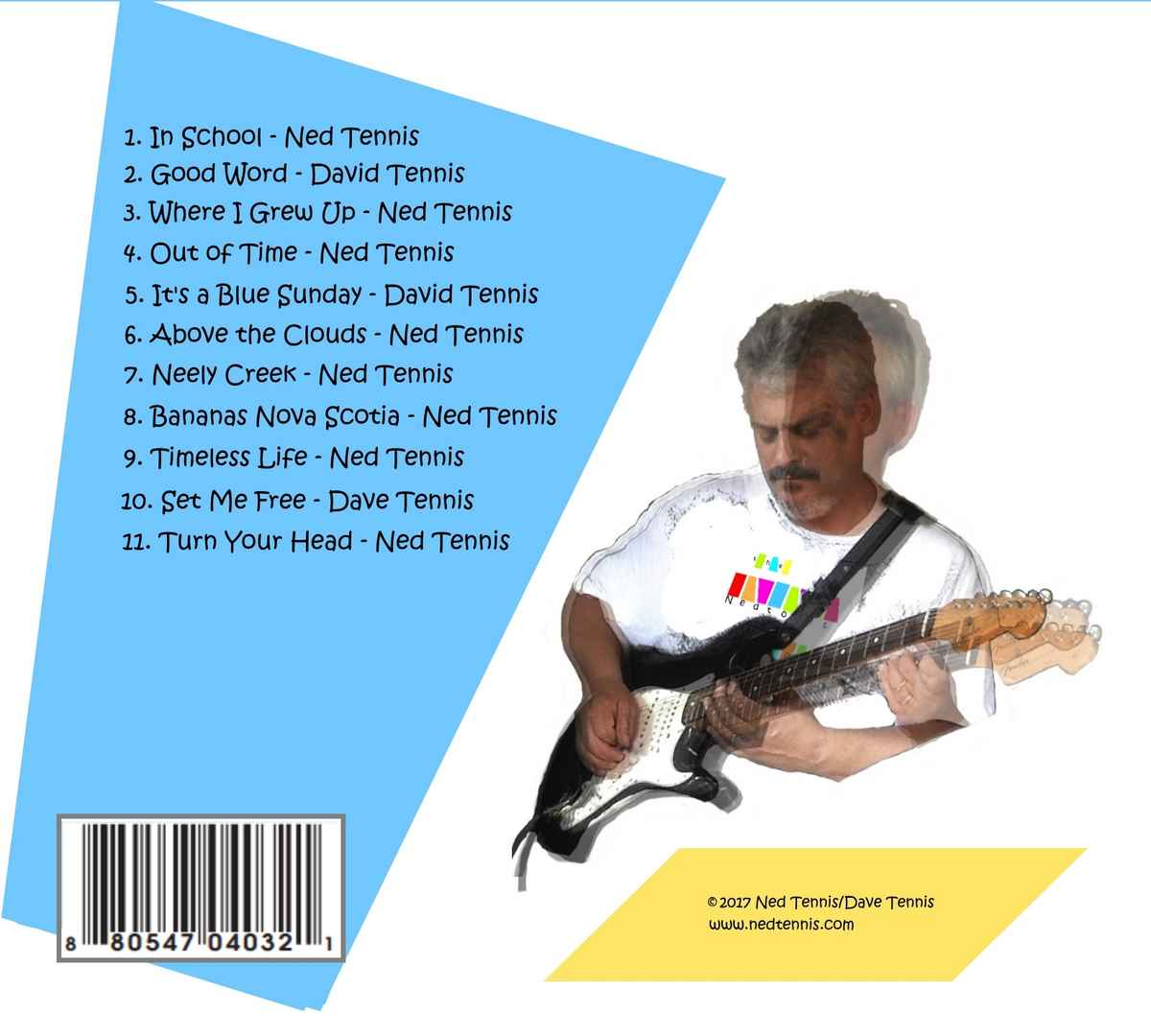 Back album cover listing songs from the Nedtones Vol. 2 with a 3 picture composite of Ned playing guitar. The text is on a large light blue rectangle and a small yellow rectangle.
