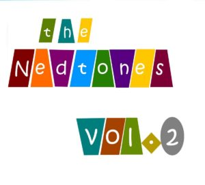 "front album cover says ""the Nedtones Vol.2"" with each letter in a diferent colored slanted rectangle box. background is white and letters are white."