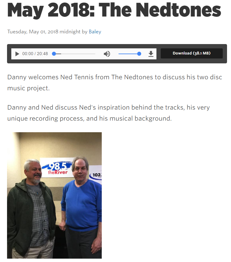 a photograph of musician songwriter Ned Tennis and Broadcaster Danny Wayne at 985 the River for the Home Brewed Music podcast May 2018