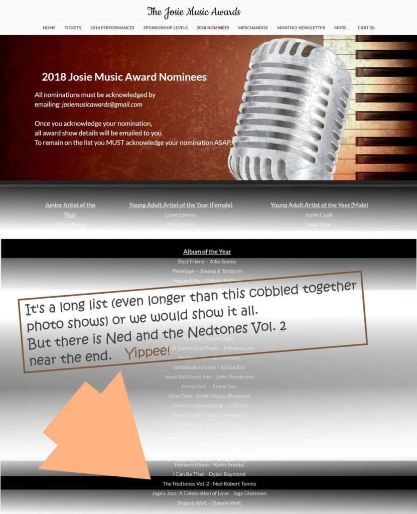 The Josie Music Awards 2018 nominees web page. With scroll down images merged and cobbled together to showcase the Nedtones Vol 2 nomination for Album of the Year.