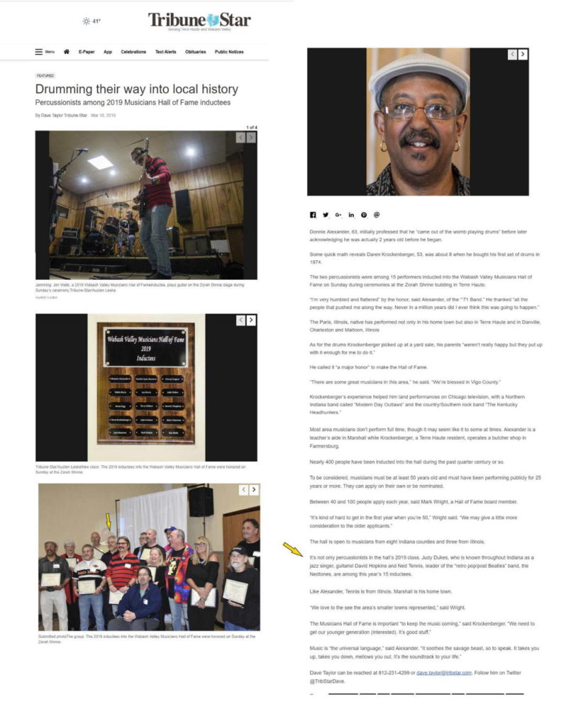 Tribune-Star article on the 2019 Wabash Valley Musicians Hall of Fame inductees.